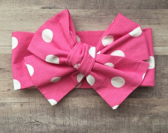 Wrap Headband - Hair Wrap - Headwrap - One Size - Newborn-Toddler-Child-Adult - Hot Pink - Polka Dot