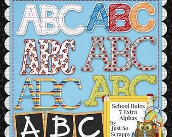 On Sale 50% Off Alphabets - Digital Scrapbooking Kit School Rules Extra Alphabets Pack - Digital Scrap Kit