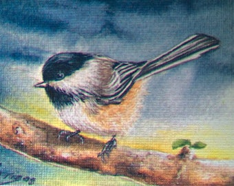 ACEO Chickadee Bird Limited Edition Print Giclee
