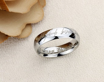 6mm Tungsten Comfort Fit Wedding Band Promise Ring Lord Of The Ring Style Elvish Font Outside & Custom Inside Engraving
