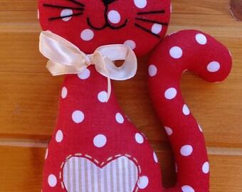 Red Polkadot Sitting Bubago Kitty