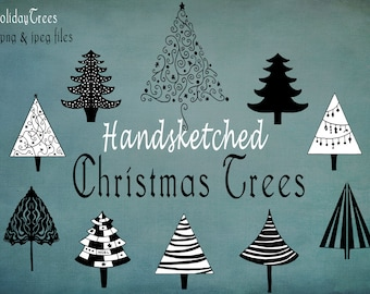 Holiday Christmas Trees Hand-Drawn Clipart Set -Digital Graphics- For Photoshop Illustrator and More- Instant Download - 10 PNG &  JPG Files