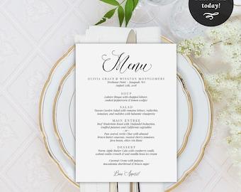 Wedding dessert menu template dessert menu printable table wedding menu printable template menu template dinner menu wedding printable instant download junglespirit Images
