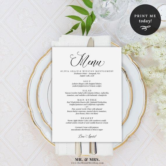 wedding menu printable template menu template dinner menu. Black Bedroom Furniture Sets. Home Design Ideas