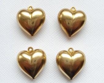 4 Raw Brass 3D Full Puffed Heart Pendants