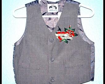 Boys Rockabilly Tattoo Pin Stripe Vest....size 2