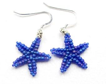 Beaded Starfish Earrings, Matte Cobalt Blue