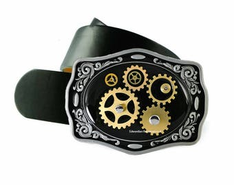Belt Buckle Steampunk Gear Cog and Sprockets Neo Victorian Watchwork Inlaid in Hand Painted Black Onyx Enamel with Color Options