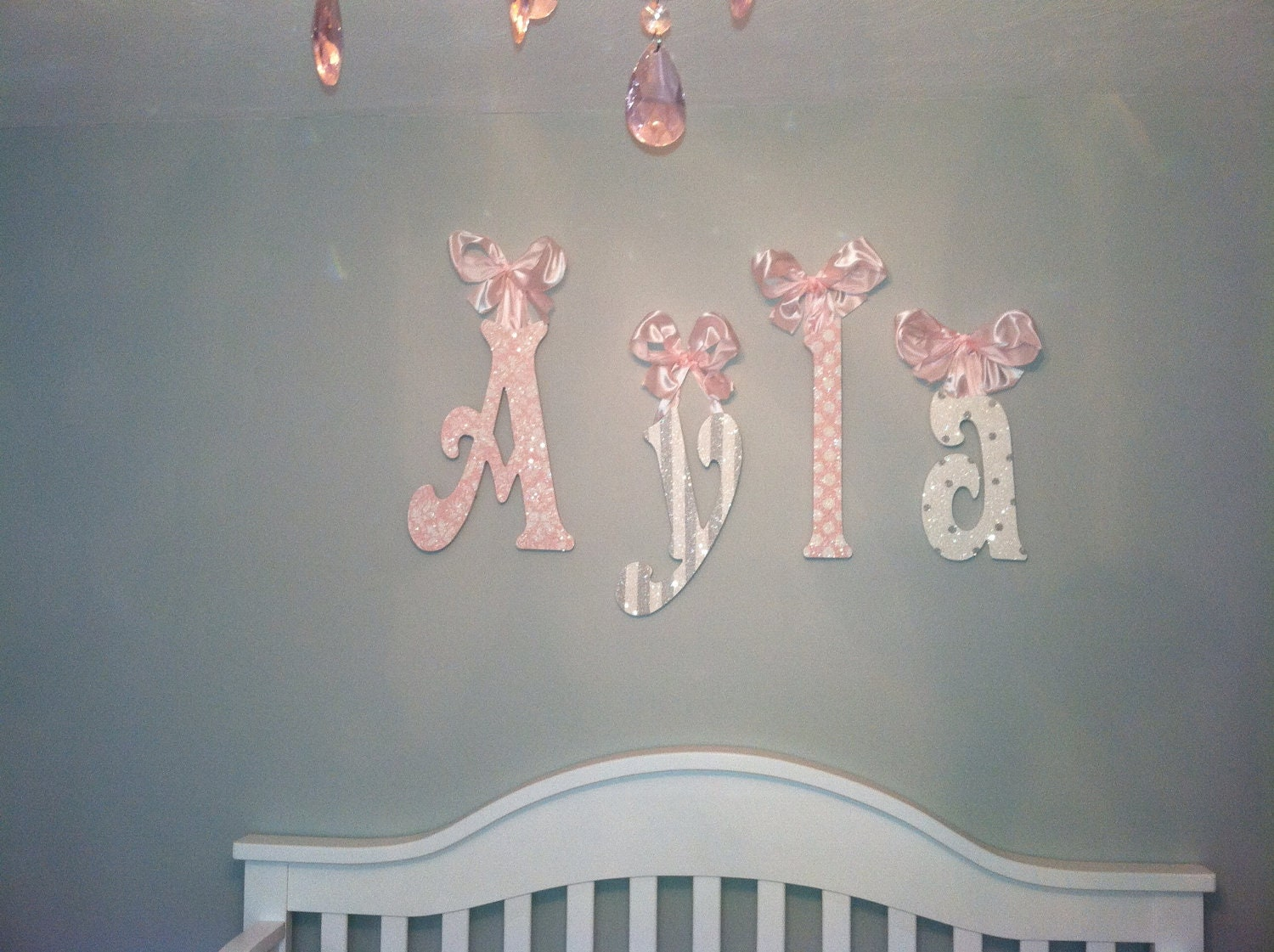 Name Wall Letters Decorative Wall Lettersglittery Sparklypink And Gray