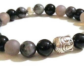 Black Agate Black Labradorite Grey Matte Agate Buddha Bead Meditation Bracelet