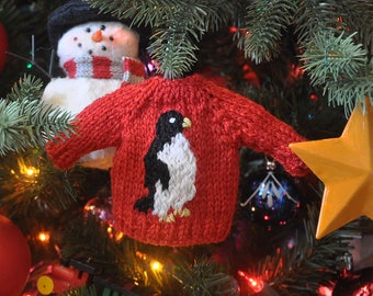 Penguin Hand-Knit Sweater Ornament