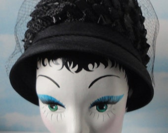 Mid century Black Pillbox Hat. Straw Fabric Netting Hat