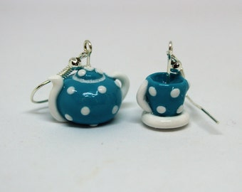 Turquoise and White Polka Dot Teapot and Teacup Earrings