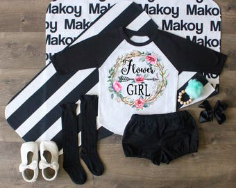 Flower Girl Shirt, Flower Girl Outfit, Flower Girl Raglan, Flower Girl Gift, Flower Girl Top, Wedding Gift, Custom Gift