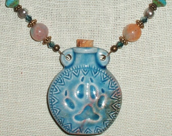 Unique Paw Print Vessel Pendant Necklace