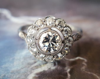 Diamond Engagement Ring | Vintage Engagement Ring | Art Deco Engagement Ring: Old European Cut Diamond Halo Engagement Ring in Platinum