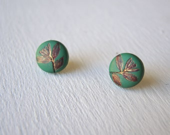 Green and Gold Leaf Earrings, Leaf Jewelry, Fall Fashion Earrings, Red and Green Earrings, Golden Earrings, Cute Earrings, Christmas Gift