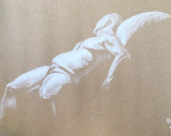 "Male Figure Drawing - ""Bob"", 9x12 - Reclining Nude Male Figure - original figure drawing, chalk pastel on toned paper"