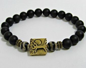 Mens Tree Of Life Bracelet, Black Onyx Bracelet, Mens Gold Jewelry, Healing Bracelet, Agate, Mediation Bracelet, Git For Him