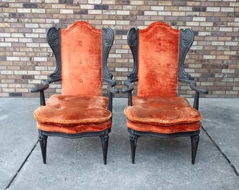 30% SALE 2 hollywood regency oragne velvet wing chairs SHIPPING SPECIAL