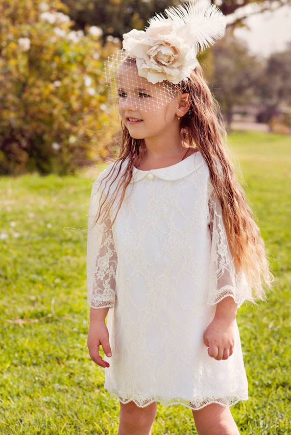 On sale /// Flower Girl White First Communion Dress Lace