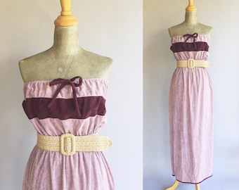 Vintage Lavender And Plum Terry Cloth Sleeveless Maxi Sun Dress (Size Medium/Large)