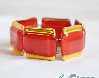 Bracelet handmade painted red with gold
