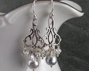 Akoya saltwater pearl chandelier earrings, handmade sterling silver, tourmalinated quartz earrings-OOAK, June birthstone