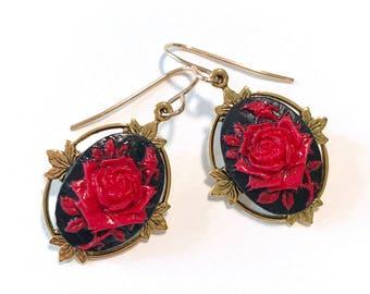 Ren Faire Earrings - Cameo Earrings - Cameo Jewelry - Red Rose - Rose Earrings - Red and Black Earrings - Ren Faire Jewelry