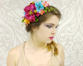 Bridal Headpiece, Rainbow Flower Crown, Light Up Crown, Rustic Wedding, Boho Flower Crown, Woodland Wedding, Flower Crown, Bridal Hair