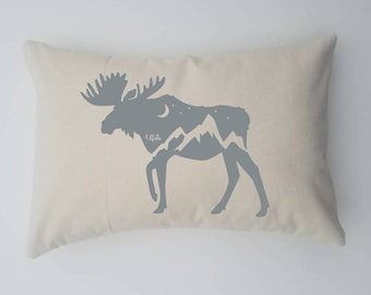 Throw Pillow Case Covers Utah Moose Mountains Moon and Stars