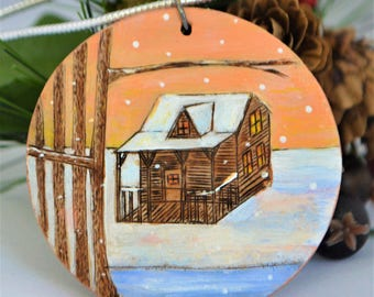 Cabin Next to a River. Woodburned and Handpainted with Acrylic paints. Christmas Ornament. Anniversary. Magnet. Landscape scene