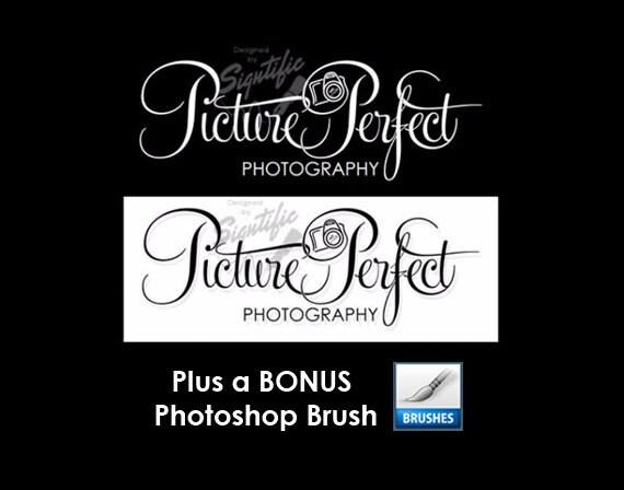 Photography Logo, FREE brush, 2 Black and White Photography Logo Design with a Bonus Photoshop Brush Preset, Photographer Signature Logo