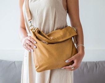 Tan Leather Folding Satchel Bag, Crossbody Handbag, Leather Shoulder Bag, Leather Satchel, Evening Leather Bag Tan Satchel Handbag