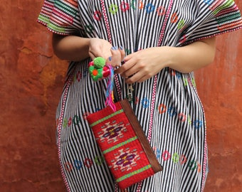 Multi colored wool clutch with hand embroidered tassels