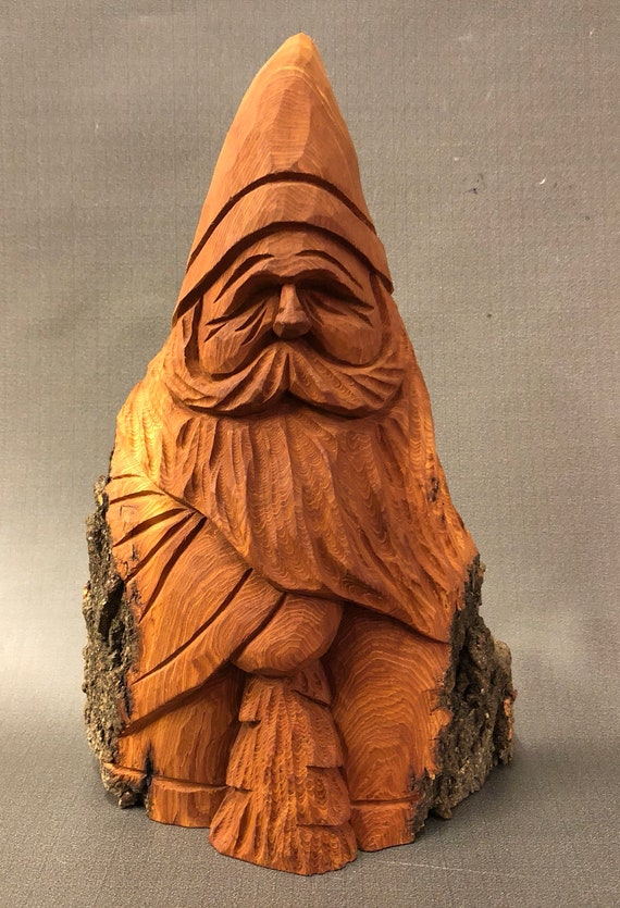 HAND CARVED original Santa and tree with natural finish from 100 year old Cottonwood Bark