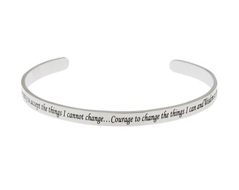 High Polished Stainless Serenity Prayer Cuff Bracelet, Serenity Prayer Bracelet