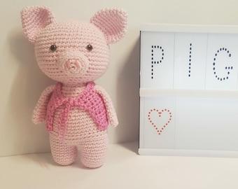 Petit cochon amigurumi, cochon au crochet, jouet en coton fait main