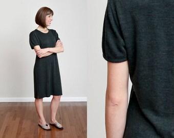 80s Charcoal Wool Blend Short Sleeve Shift Dress - Minimal - Modern - Basic • M