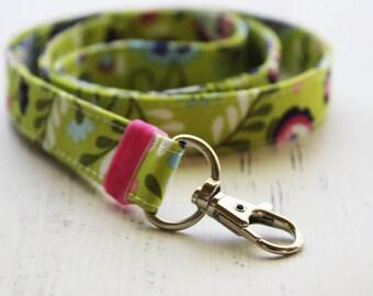 Lanyard - floral lanyard for keys - lanyard with ID holder - key fob - teachers lanyard - floral lanyard - badge holder lanyard