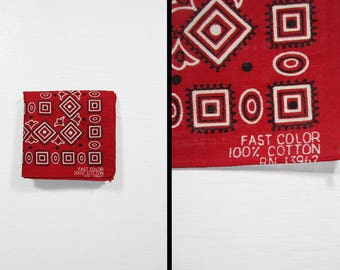 Vintage NOS Fast Color Bandana Red 60s Handkerchief Square Amoeba All Cotton Made in USA Size Large
