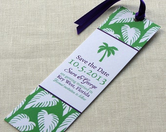 Beach Wedding Save the Date -  Palm Tree Tropical Bookmark - Destination Wedding
