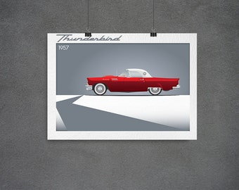 Ford Thunderbird 1957, Minimalist poster, Digital download, Retro, vintage,  Wall decor, Printable art, Instant download, Wall art