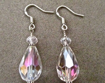 Crystal AB Faceted Teardrop and Sterling Silver Earrings