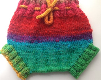 3-9 months - Diaper Cover  Wool - Rainbow Small-medium Baby Handknit Wool Soaker  with Knit Drawstring