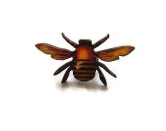 Bee Bumblebee Pin Tie Tack Accessory wooden yellow brown black flying insect gift for him