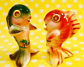 Lefton Anthropomorphic Fish with Rhinestone Eyes Salt and Pepper Shakers made in Japan circa 1950s