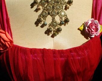 Art Deco Filigree Beaded Necklace