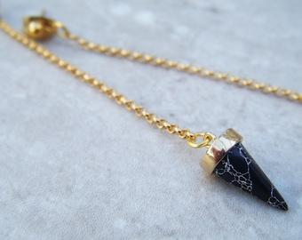 Black spike earrings , gold spike earrings , black spike drops , gold chain earrings , black marble spikes , marble earings , uk seller