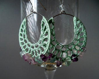 Sage Green Crochet Hoops With Fluorite Beads in Pink Lilac Lavender Gray Blue, Chunky Earrings, Tribal Jewelry, Healing Stones Lace Earrings